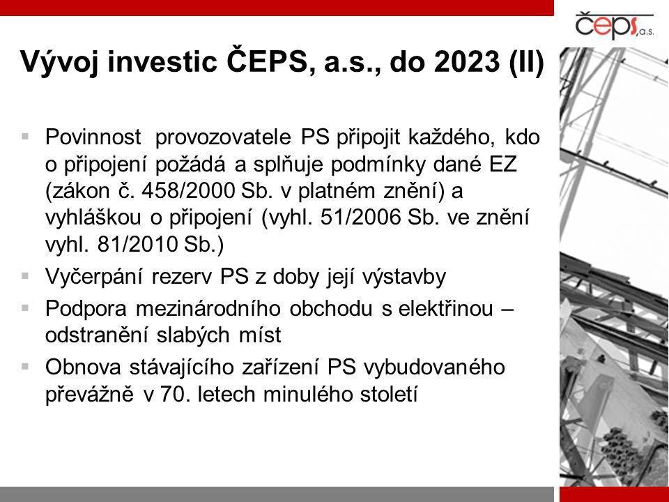 Vývoj investic ČEPS, a.s., do 2023 (II)  Povinnost provozovatele PS připojit každého, kdo o připojení požádá a splňuje podmínky dané EZ (zákon č. 458