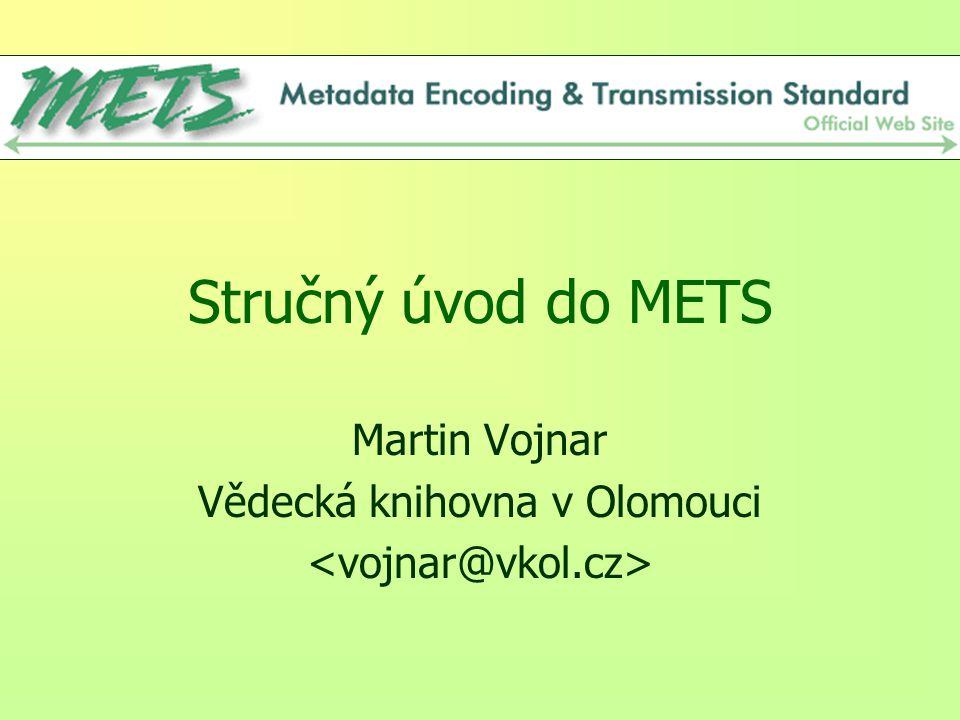 2 Místo úvodu REALITA = mnoho digitalizovaných a digitálních objektů doplněných různě provázanou množinou metadat: –popisná metadata (abychom mohli objekt nalézt) –technická metadata (abychom mohli vyjádřit vlastnosti objektu – obrázek, text, audio,...) –strukturální metadata (abychom mohli propojit objekty a metadata mezi sebou) –administrativní metadata (abychom mohli objekty a metadata spravovat včetně zpřístupnění, dodávání a zajištění autorských práv,...