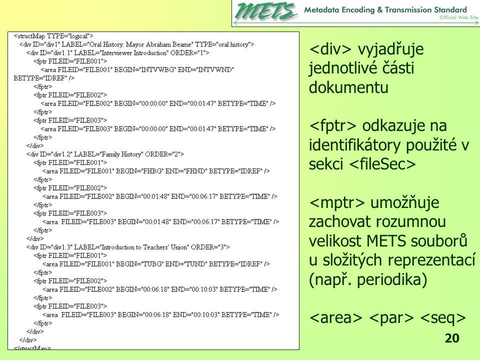 20 vyjadřuje jednotlivé části dokumentu odkazuje na identifikátory použité v sekci umožňuje zachovat rozumnou velikost METS souborů u složitých reprezentací (např.