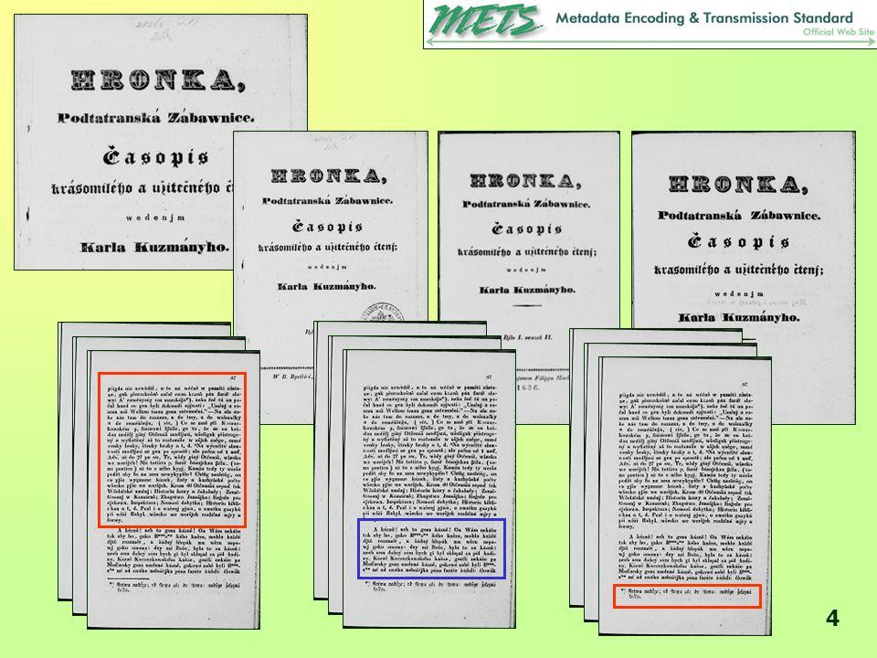 5 METS – základní informace •METS = standard pro zachycení a výměnu metadat v prostředí digitálních a digitalizovaných objektů •METS = schéma založené na XML •z iniciativy Digital Library Federation (DLF, http://www.diglib.org/) http://www.diglib.org/ •správcem je Kongresová knihovna (viz www http://www.loc.gov/standards/mets/), která provozuje elektronickou konferenci na mets@loc.gov http://www.loc.gov/standards/mets/ mets@loc.gov •od r.