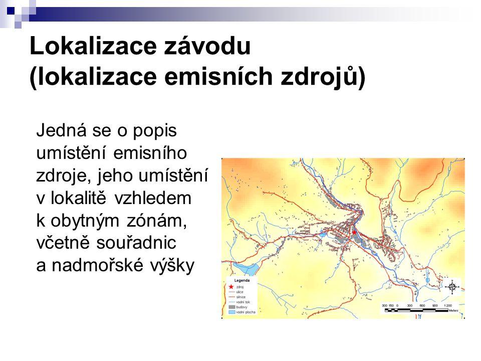 Lokalizace závodu (lokalizace emisních zdrojů) Jedná se o popis umístění emisního zdroje, jeho umístění v lokalitě vzhledem k obytným zónám, včetně so