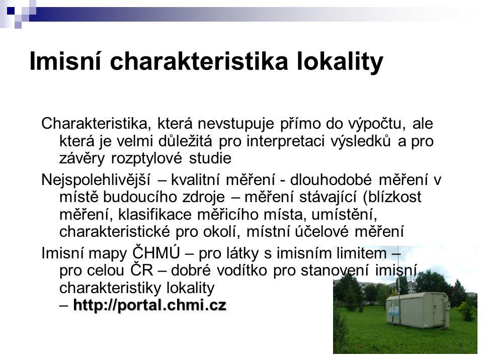 Imisní charakteristika lokality Charakteristika, která nevstupuje přímo do výpočtu, ale která je velmi důležitá pro interpretaci výsledků a pro závěry