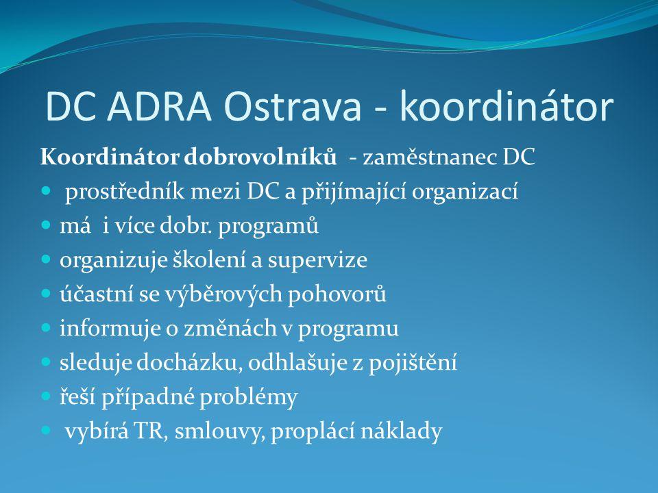 DC ADRA Ostrava - koordinátor Koordinátor dobrovolníků - zaměstnanec DC  prostředník mezi DC a přijímající organizací  má i více dobr. programů  or