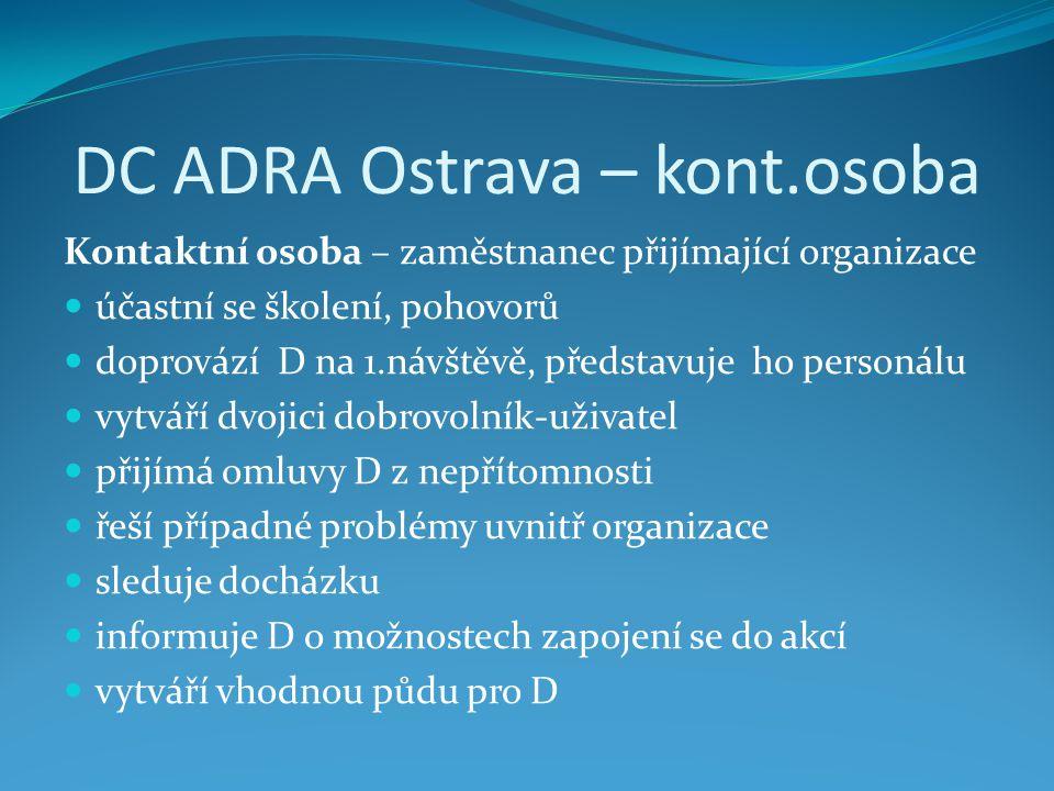 DC ADRA Ostrava – kont.osoba Kontaktní osoba – zaměstnanec přijímající organizace  účastní se školení, pohovorů  doprovází D na 1.návštěvě, představ