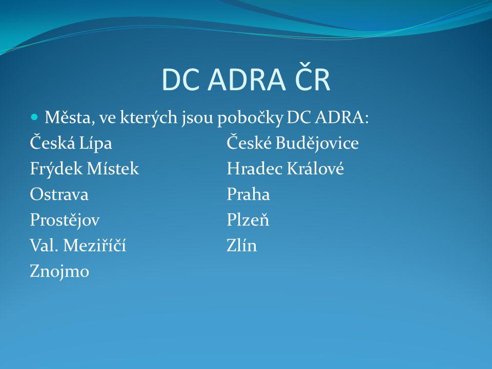 DC ADRA ČR  Města, ve kterých jsou pobočky DC ADRA: Česká LípaČeské Budějovice Frýdek MístekHradec Králové OstravaPraha ProstějovPlzeň Val. MeziříčíZ