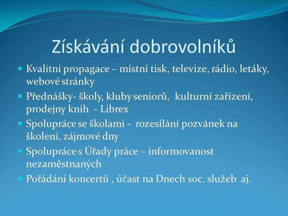 DC ADRA Ostrava - školení Školení dobrovolníků – přímo v zařízení 1-2x ročně  organizace  práva a povinnosti  možnosti dobr.