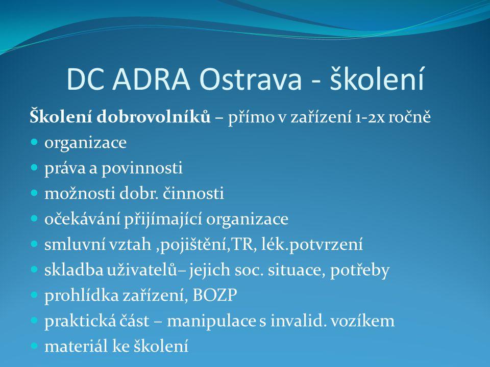 DC ADRA Ostrava - školení Školení dobrovolníků – přímo v zařízení 1-2x ročně  organizace  práva a povinnosti  možnosti dobr. činnosti  očekávání p