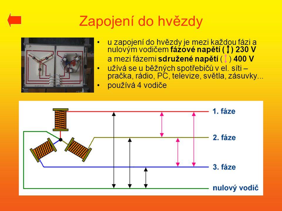 Zapojení do hvězdy •u zapojení do hvězdy je mezi každou fázi a nulovým vodičem fázové napětí ( ) 230 V a mezi fázemi sdružené napětí ( ) 400 V •užívá