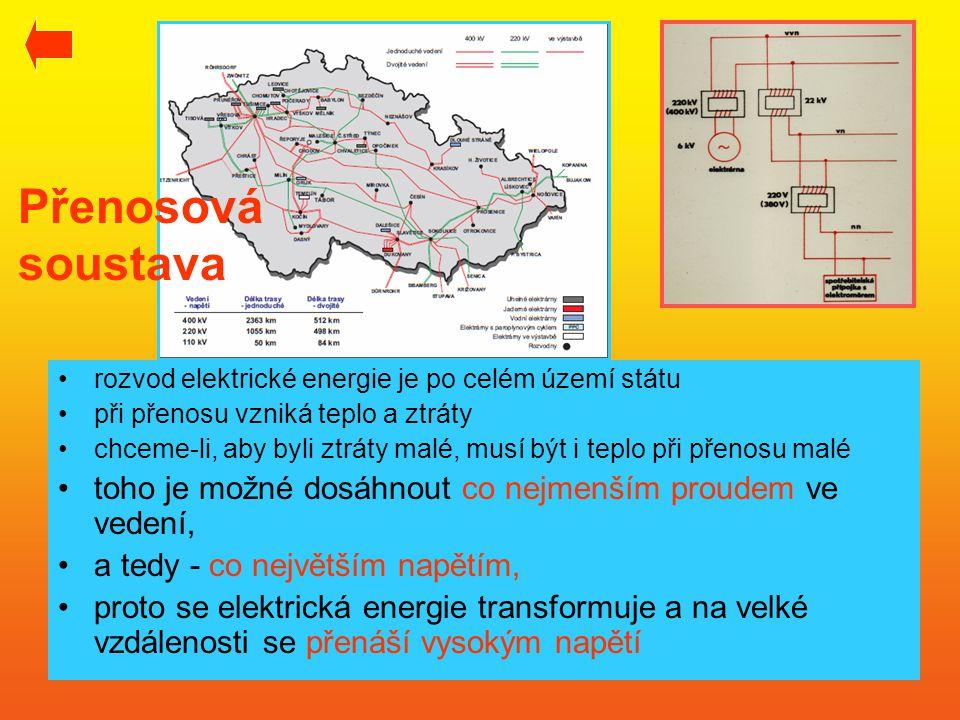 Přenosová soustava •rozvod elektrické energie je po celém území státu •při přenosu vzniká teplo a ztráty •chceme-li, aby byli ztráty malé, musí být i