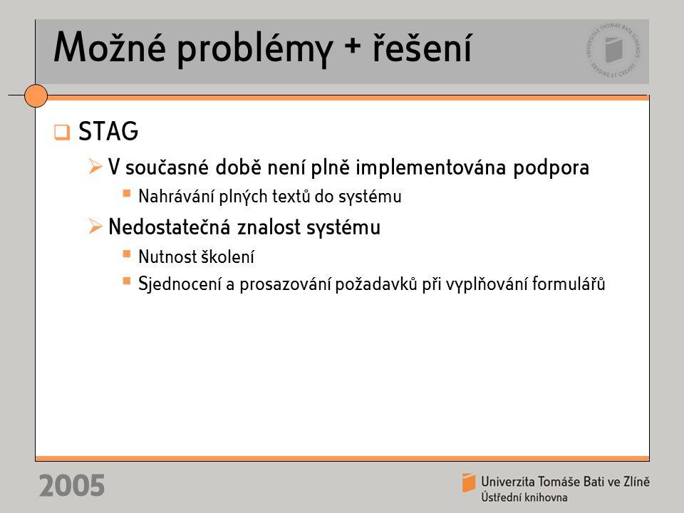 2005 Možné problémy + řešení  STAG  V současné době není plně implementována podpora  Nahrávání plných textů do systému  Nedostatečná znalost systému  Nutnost školení  Sjednocení a prosazování požadavků při vyplňování formulářů