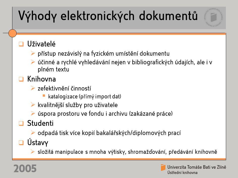 2005 Závěr Děkujeme za pozornost Za Ústřední knihovnu Univerzity Tomáše Bati ve Zlíně Mgr.