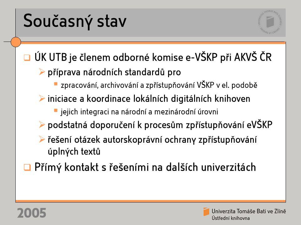 2005 Současný stav  ÚK UTB je členem odborné komise e-VŠKP při AKVŠ ČR  příprava národních standardů pro  zpracování, archivování a zpřístupňování VŠKP v el.