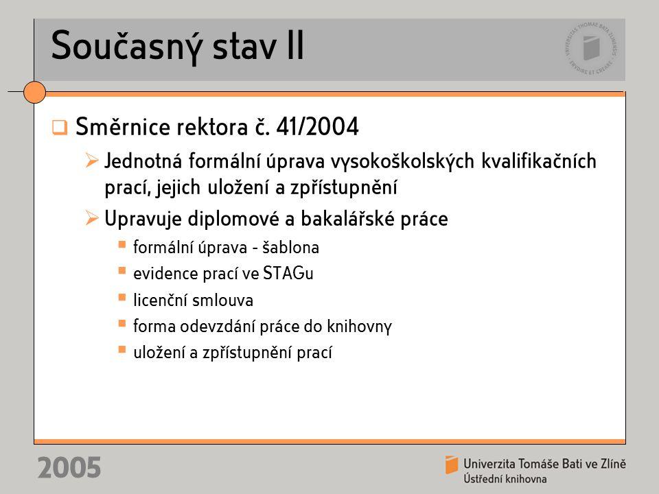 2005 Současný stav II  Směrnice rektora č.