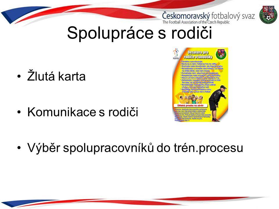 Spolupráce s rodiči •Žlutá karta •Komunikace s rodiči •Výběr spolupracovníků do trén.procesu