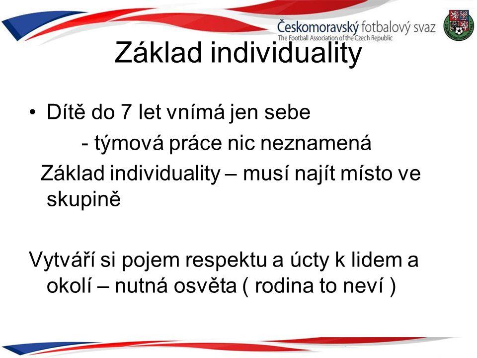 Základ individuality •Dítě do 7 let vnímá jen sebe - týmová práce nic neznamená Základ individuality – musí najít místo ve skupině Vytváří si pojem re