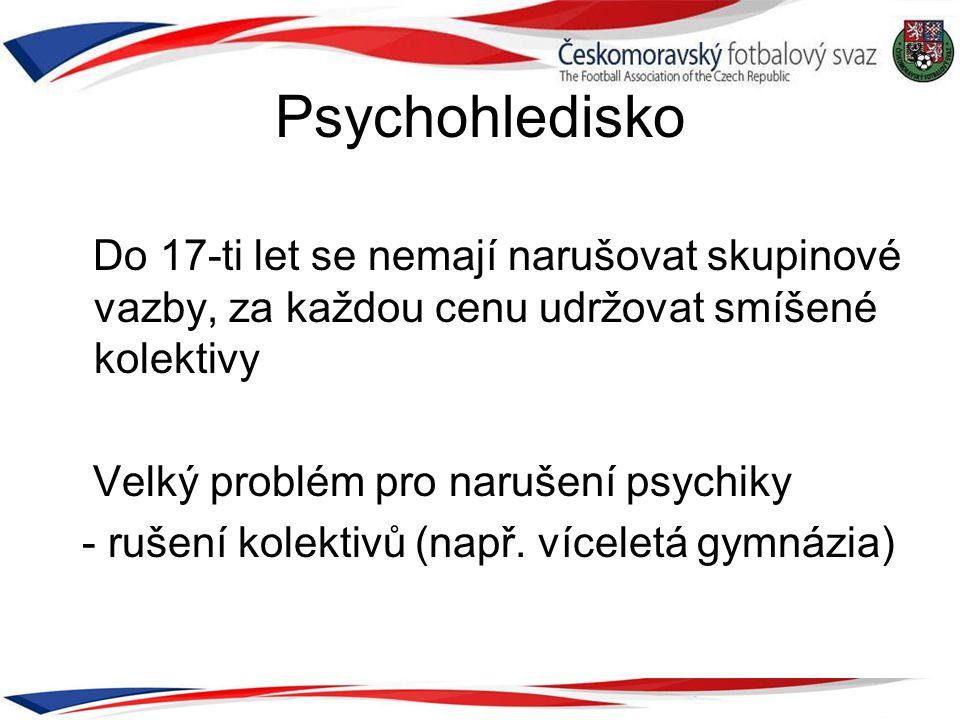 Psychohledisko Do 17-ti let se nemají narušovat skupinové vazby, za každou cenu udržovat smíšené kolektivy Velký problém pro narušení psychiky - rušen
