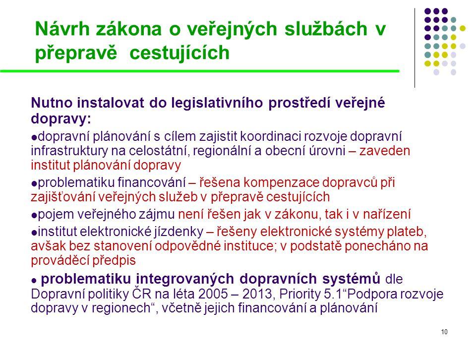 10 Návrh zákona o veřejných službách v přepravě cestujících Nutno instalovat do legislativního prostředí veřejné dopravy:  dopravní plánování s cílem