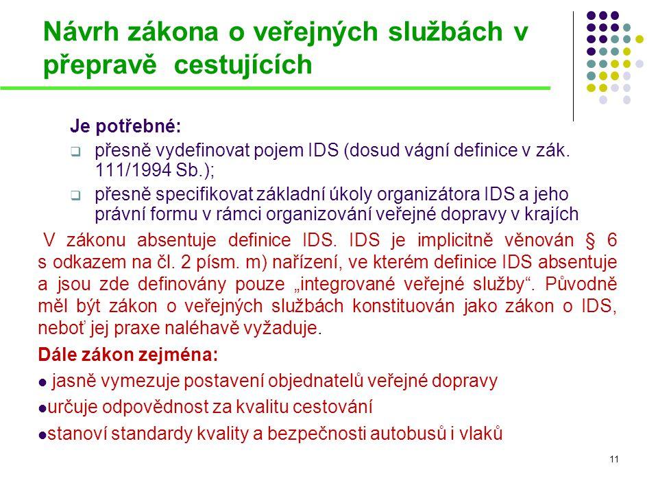 Návrh zákona o veřejných službách v přepravě cestujících Je potřebné:  přesně vydefinovat pojem IDS (dosud vágní definice v zák. 111/1994 Sb.);  pře