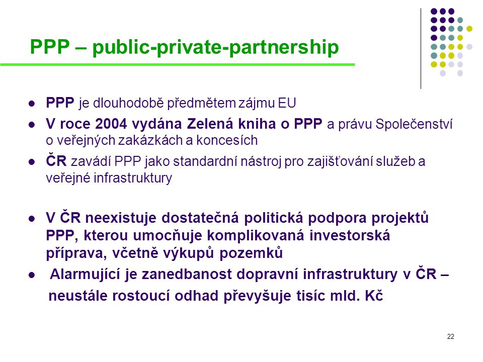 23 PPP – public-private-partnership Legislativa v oblasti PPP v ČR:  zákon č.