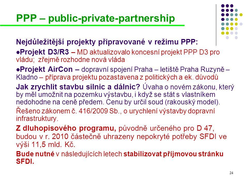 24 PPP – public-private-partnership Nejdůležitější projekty připravované v režimu PPP:  Projekt D3/R3 – MD aktualizovalo koncesní projekt PPP D3 pro