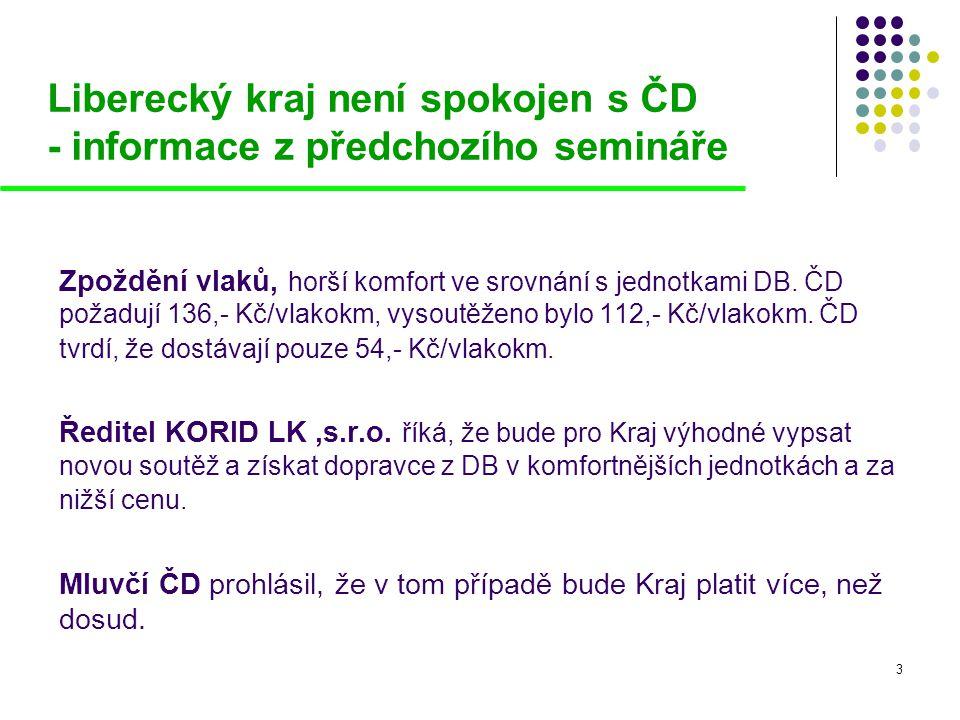 3 Liberecký kraj není spokojen s ČD - informace z předchozího semináře Zpoždění vlaků, horší komfort ve srovnání s jednotkami DB. ČD požadují 136,- Kč