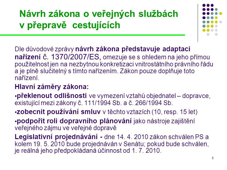 9 Návrh zákona o veřejných službách v přepravě cestujících Dle důvodové zprávy návrh zákona představuje adaptaci nařízení č. 1370/2007/ES, omezuje se