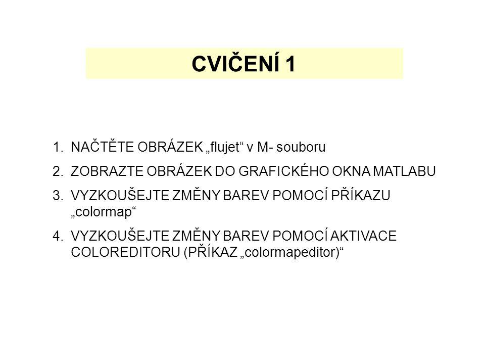"""CVIČENÍ 1 1.NAČTĚTE OBRÁZEK """"flujet v M- souboru 2.ZOBRAZTE OBRÁZEK DO GRAFICKÉHO OKNA MATLABU 3.VYZKOUŠEJTE ZMĚNY BAREV POMOCÍ PŘÍKAZU """"colormap 4.VYZKOUŠEJTE ZMĚNY BAREV POMOCÍ AKTIVACE COLOREDITORU (PŘÍKAZ """"colormapeditor)"""