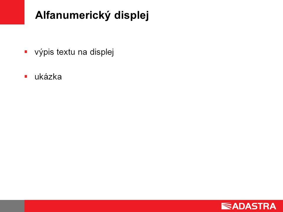 Alfanumerický displej  výpis textu na displej  ukázka