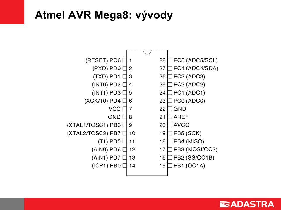 Programovací jazyky a vývojová prostředí  assembler ̶ AVR Studio ̶ avra  C/C++ ̶ gcc (port pro Win: WinAVR) + editor/IDE (AVR Studio, notepad, vim, Eclipse) + AVRlib ̶ IAR ̶ ImageCraft  Basic ̶ Bascom  Pascal, Java, Forth, Ada, teoreticky všechny gcc frontendy…