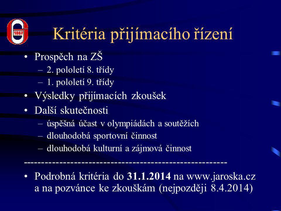 Kritéria přijímacího řízení •Prospěch na ZŠ –2. pololetí 8.