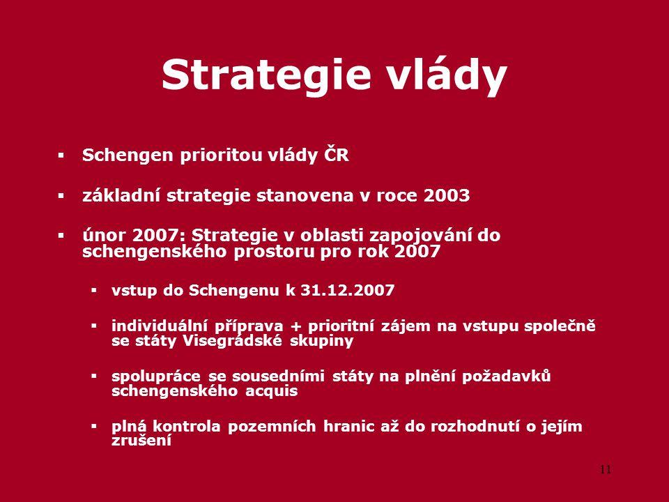 11 Strategie vlády  Schengen prioritou vlády ČR  základní strategie stanovena v roce 2003  únor 2007: Strategie v oblasti zapojování do schengenského prostoru pro rok 2007  vstup do Schengenu k 31.12.2007  individuální příprava + prioritní zájem na vstupu společně se státy Visegrádské skupiny  spolupráce se sousedními státy na plnění požadavků schengenského acquis  plná kontrola pozemních hranic až do rozhodnutí o jejím zrušení