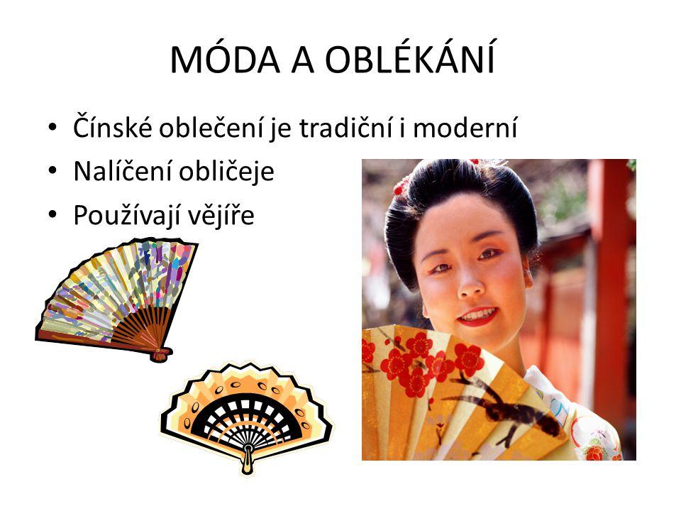 MÓDA A OBLÉKÁNÍ • Čínské oblečení je tradiční i moderní • Nalíčení obličeje • Používají vějíře