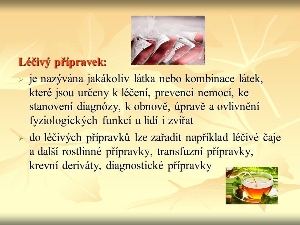 Lék:  lékem nazýváme léčivý přípravek, který je upravený do vhodné formy a podává se cíleně pouze k účelu, který je dán vlastnostmi v něm obsažených léčiv