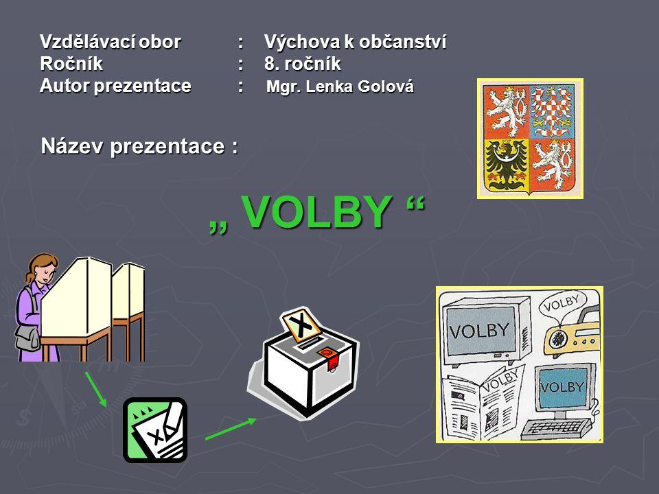Vzdělávací obor: Výchova k občanství Ročník : 8. ročník Autor prezentace: Mgr.