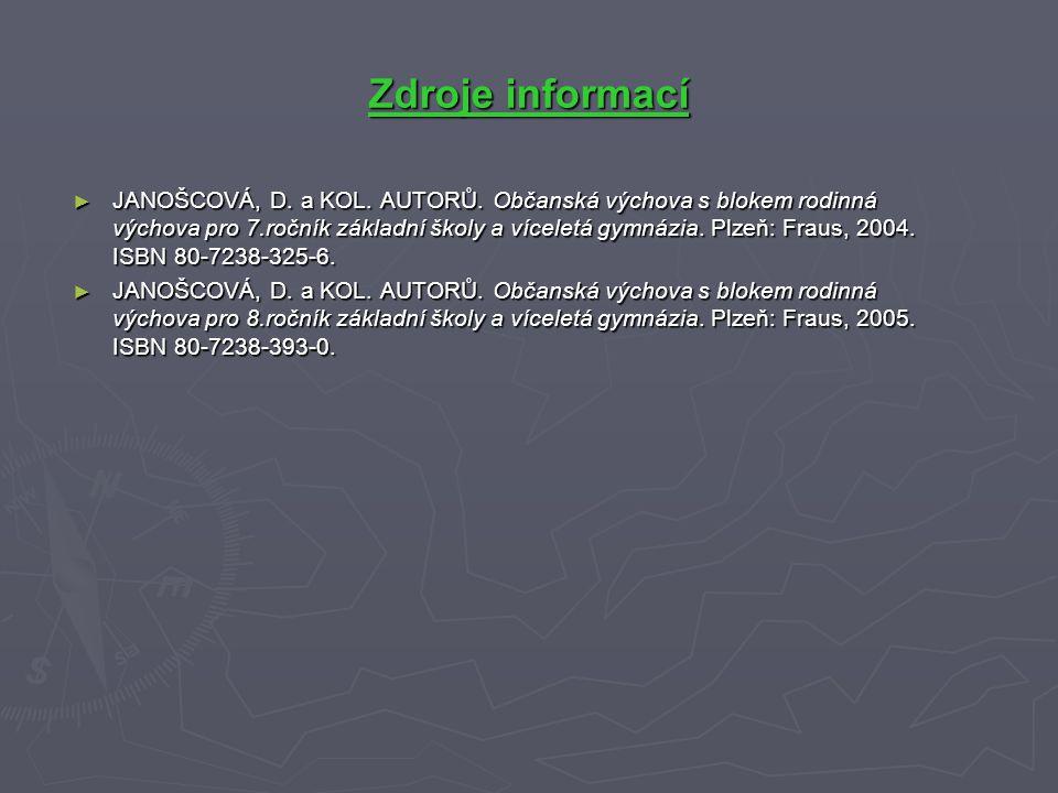 Zdroje informací ► JANOŠCOVÁ, D. a KOL. AUTORŮ.