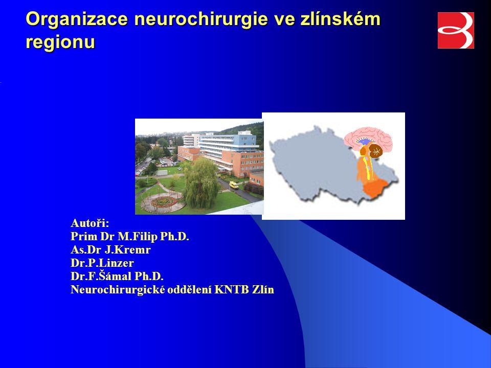 Organizace neurochirurgie ve zlínském regionu Autoři: Prim Dr M.Filip Ph.D. As.Dr J.Kremr Dr.P.Linzer Dr.F.Šámal Ph.D. Neurochirurgické oddělení KNTB