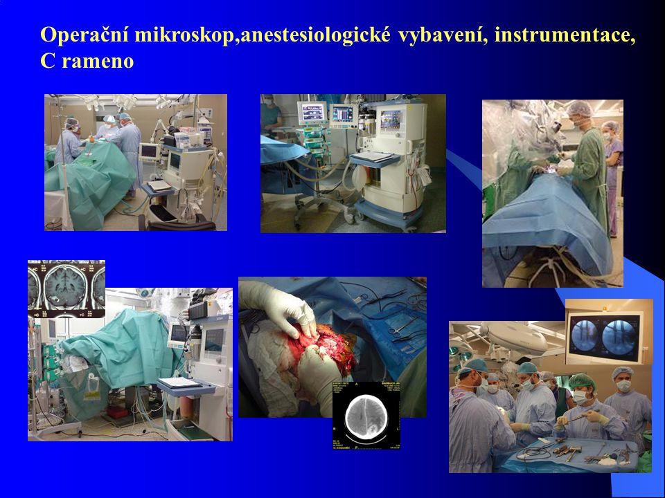 Operační mikroskop,anestesiologické vybavení, instrumentace, C rameno