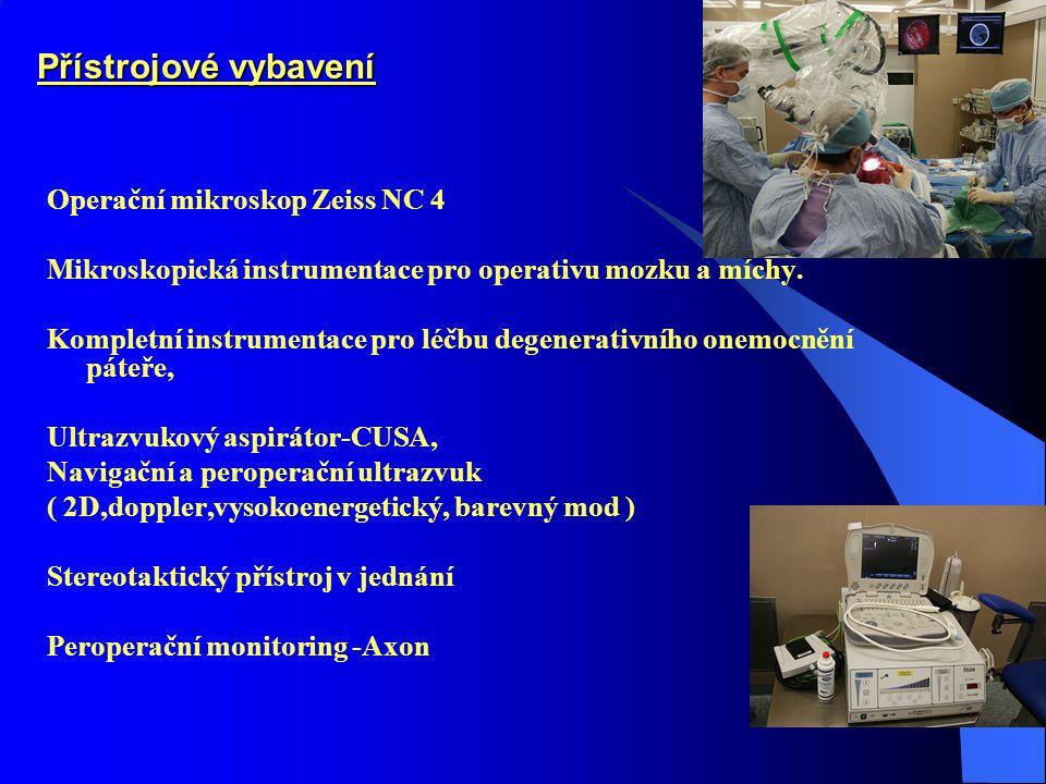Přístrojové vybavení Operační mikroskop Zeiss NC 4 Mikroskopická instrumentace pro operativu mozku a míchy. Kompletní instrumentace pro léčbu degenera