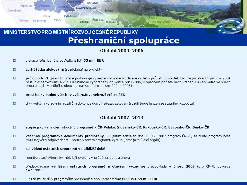 MINISTERSTVO PRO MÍSTNÍ ROZVOJ ČESKÉ REPUBLIKY Období 2004–2006  alokace (přislíbené prostředky z EU) 55 mil.