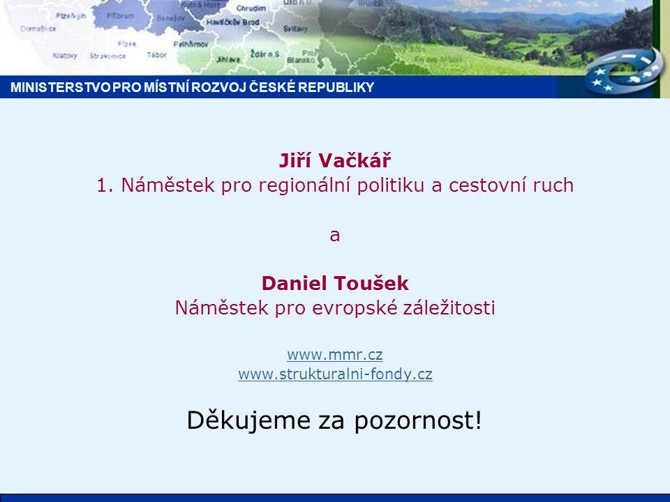 MINISTERSTVO PRO MÍSTNÍ ROZVOJ ČESKÉ REPUBLIKY Jiří Vačkář 1.
