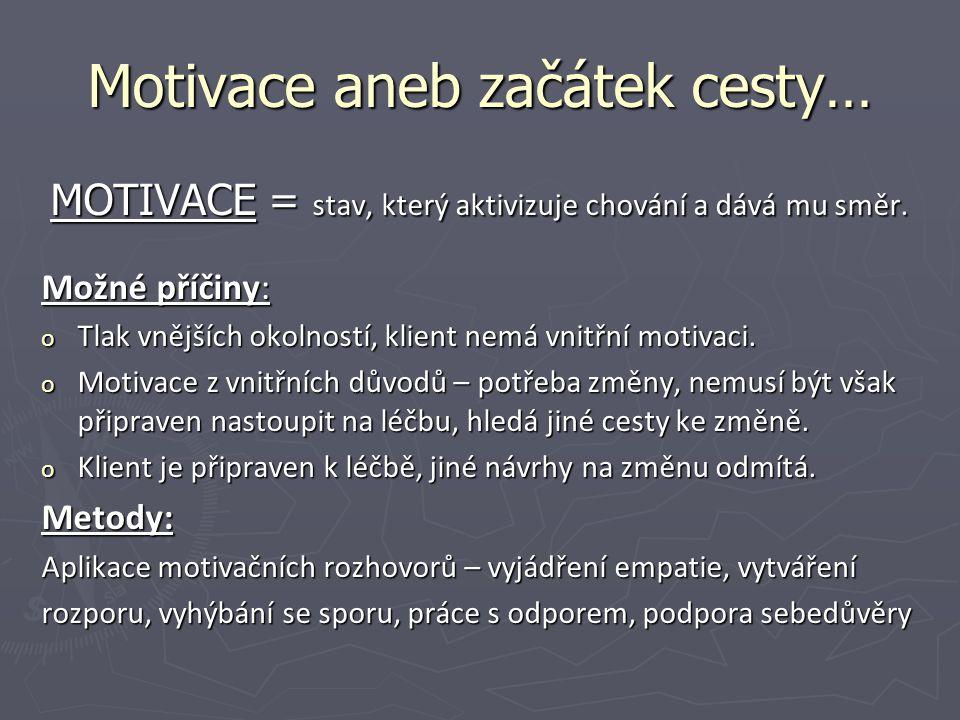 Motivace aneb začátek cesty… MOTIVACE = stav, který aktivizuje chování a dává mu směr. Možné příčiny: o Tlak vnějších okolností, klient nemá vnitřní m
