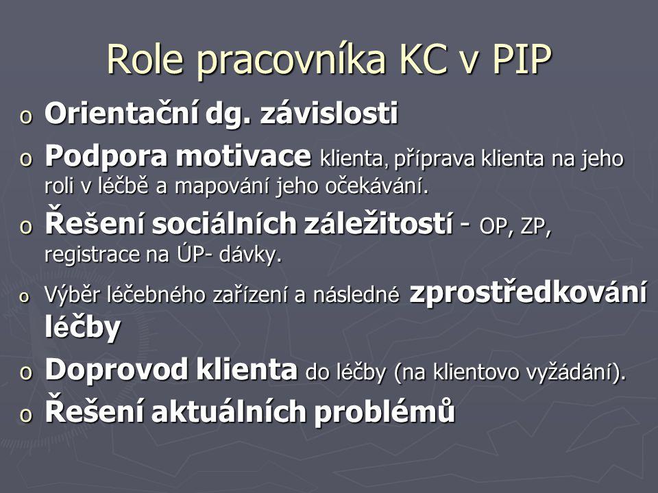 Role pracovníka KC v PIP o Orientační dg. závislosti o Podpora motivace klienta, př í prava klienta na jeho roli v l é čbě a mapov á n í jeho oček á v
