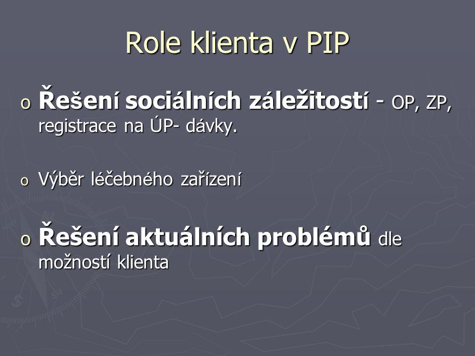 Role klienta v PIP o Ře š en í soci á ln í ch z á ležitost í - OP, ZP, registrace na Ú P- d á vky.