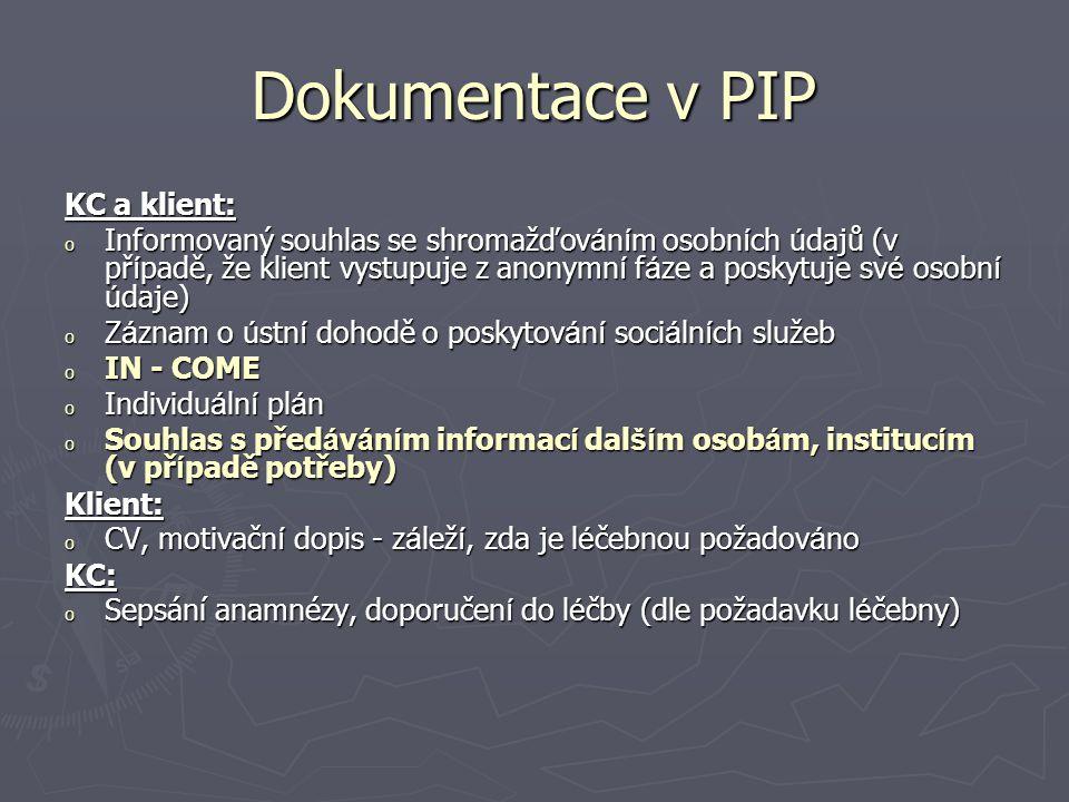 Dokumentace v PIP KC a klient: o Informovaný souhlas se shromažďov á n í m osobn í ch ú dajů (v př í padě, že klient vystupuje z anonymn í f á ze a po