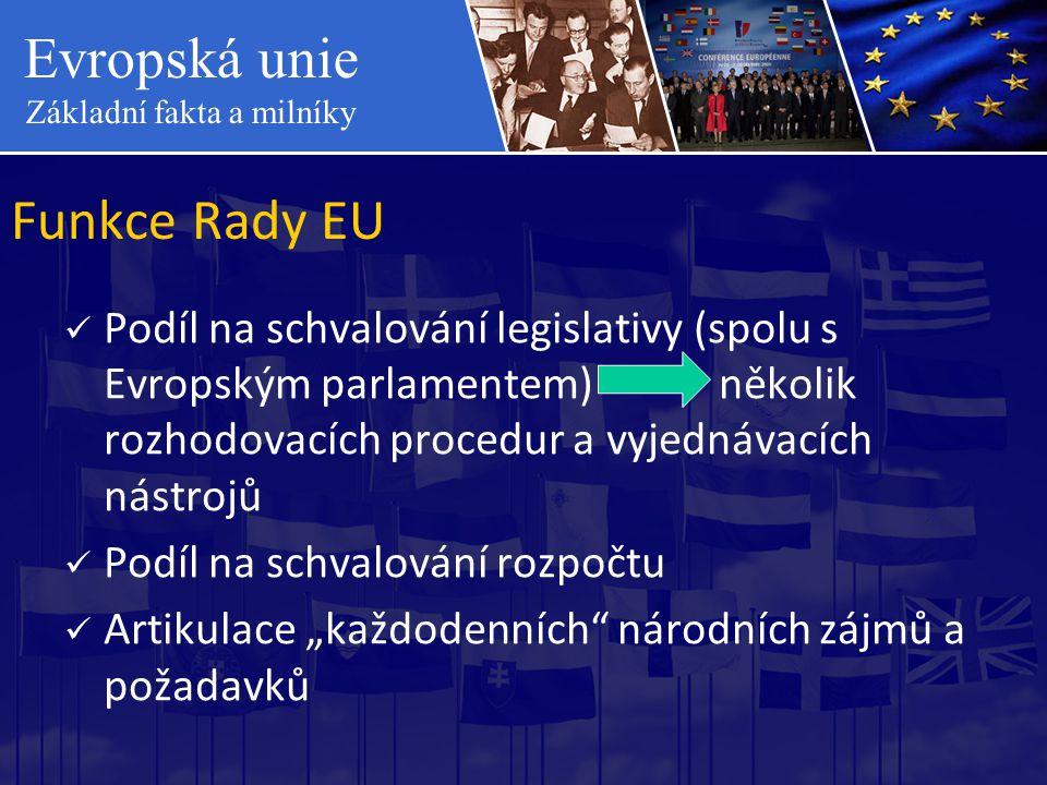 Evropská unie Základní fakta a milníky Funkce Rady EU  Podíl na schvalování legislativy (spolu s Evropským parlamentem) několik rozhodovacích procedu
