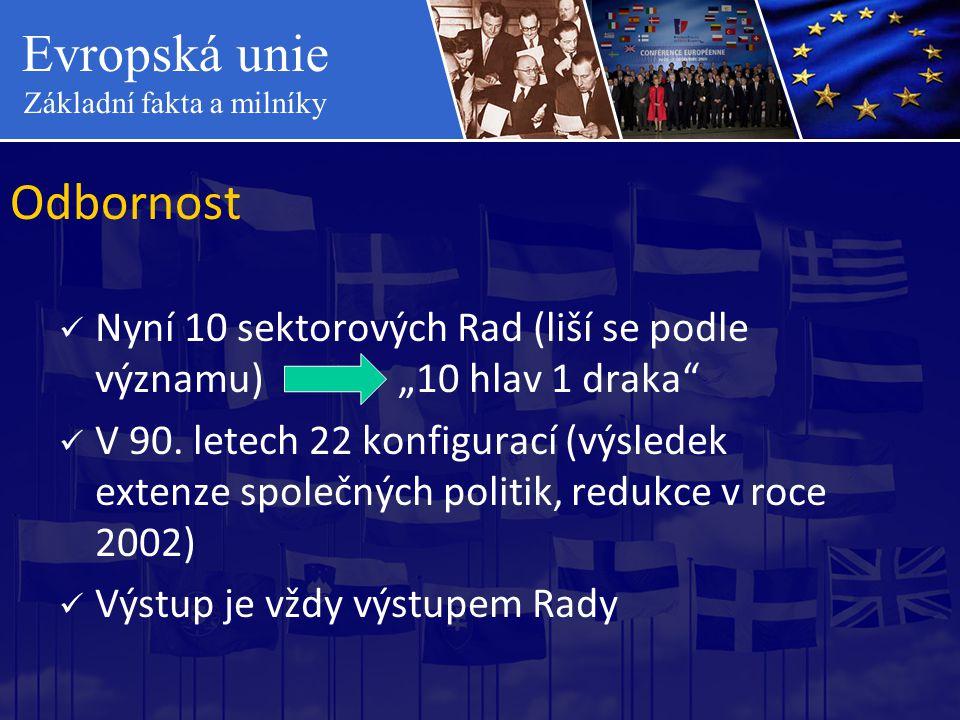 """Evropská unie Základní fakta a milníky Odbornost  Nyní 10 sektorových Rad (liší se podle významu) """"10 hlav 1 draka""""  V 90. letech 22 konfigurací (vý"""