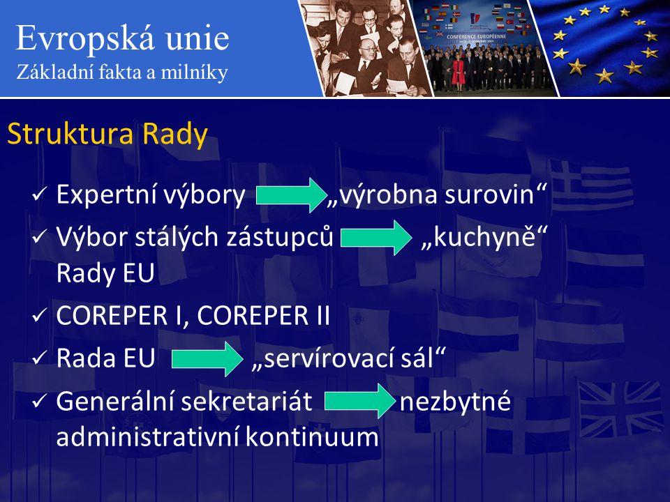 """Evropská unie Základní fakta a milníky Struktura Rady  Expertní výbory """"výrobna surovin""""  Výbor stálých zástupců """"kuchyně"""" Rady EU  COREPER I, CORE"""