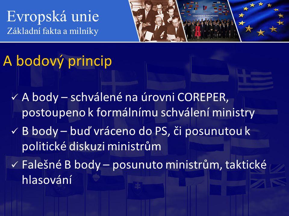 Evropská unie Základní fakta a milníky A bodový princip  A body – schválené na úrovni COREPER, postoupeno k formálnímu schválení ministry  B body –