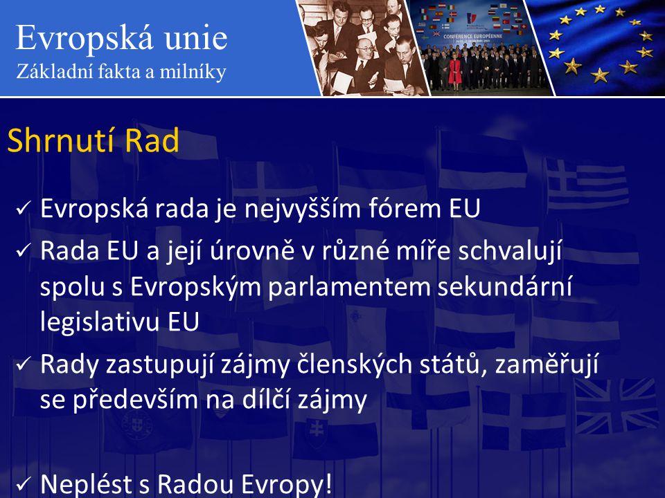 Evropská unie Základní fakta a milníky Shrnutí Rad  Evropská rada je nejvyšším fórem EU  Rada EU a její úrovně v různé míře schvalují spolu s Evrops