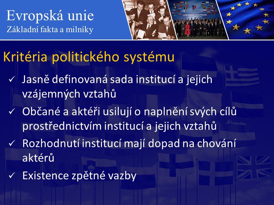 Evropská unie Základní fakta a milníky Kritéria politického systému  Jasně definovaná sada institucí a jejich vzájemných vztahů  Občané a aktéři usi